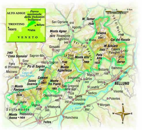 Cartina Dolomiti Bellunesi.Parchi Per Tutti It Immagini Fotografiche Cartina Del Parco Nazionale Delle Dolomiti Bellunesi